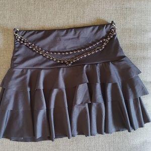 Hot Kiss Ruffled mini skirt w/ draped beaded belt